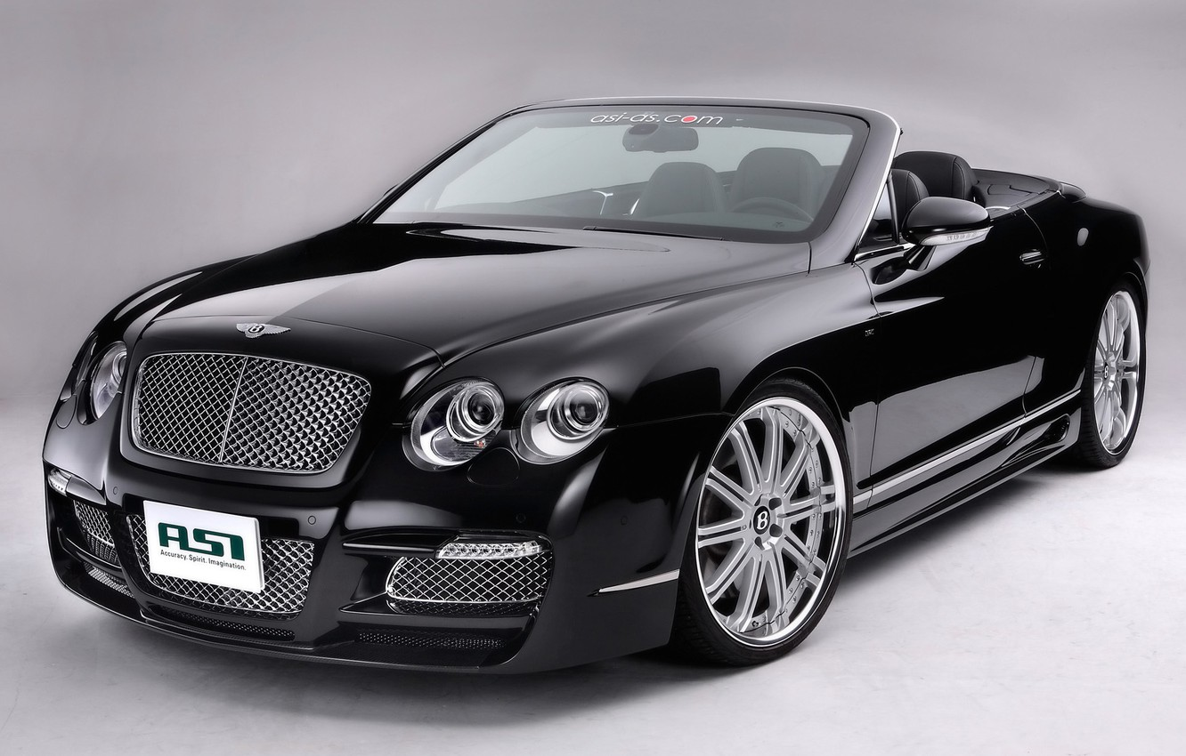 Photo wallpaper black, Bentley, Machine, convertible, drives, on a gray background