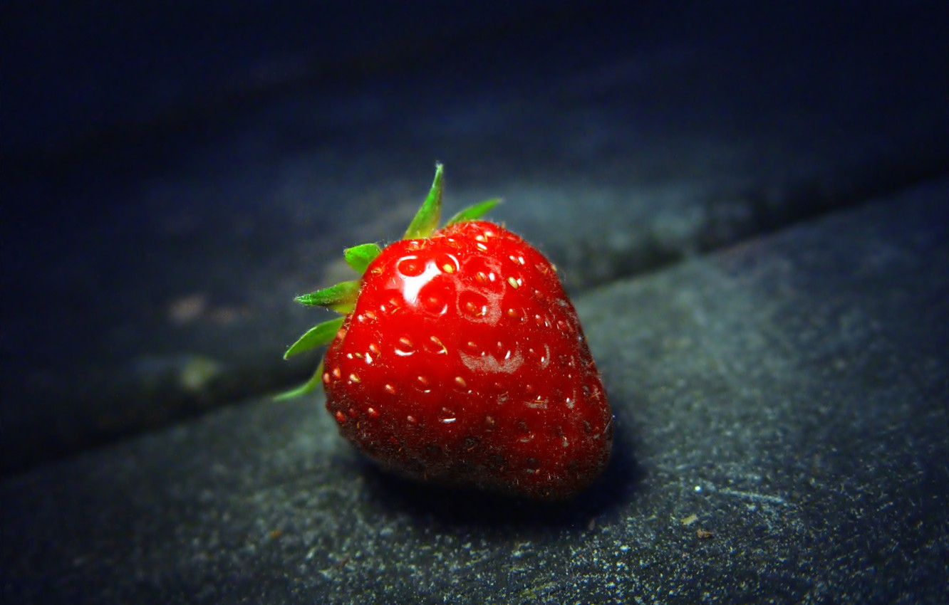 Photo wallpaper macro, food, strawberry, berry, strawberry