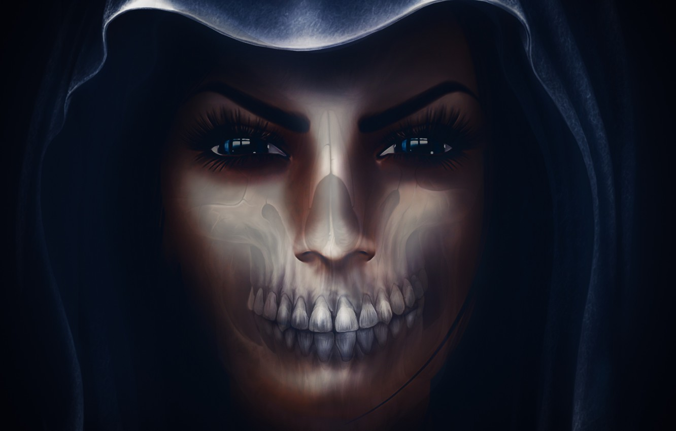 Photo wallpaper girl, face, skull, hood