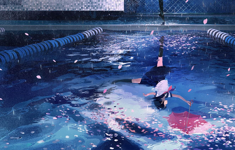 Photo wallpaper water, girl, reflection, rain, umbrella, petals, Sakura, school uniform