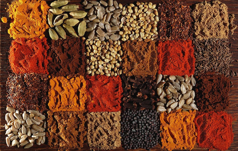 Photo wallpaper pepper, seeds, carnation, spices, cardamom, paprika, coriander, cumin, turmeric