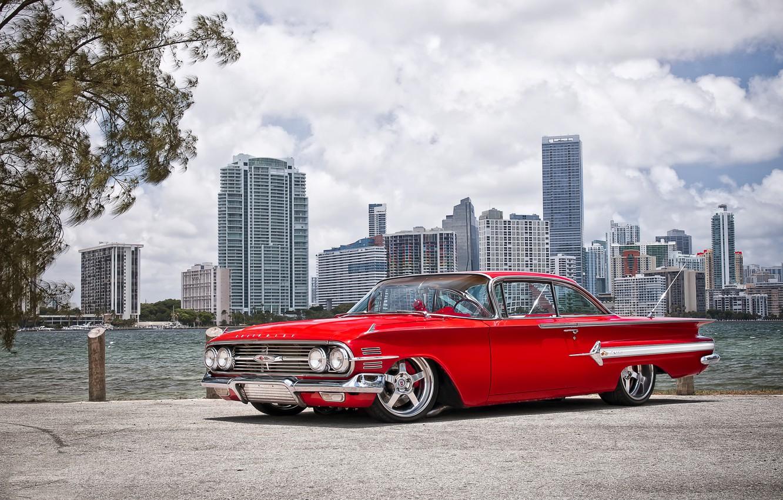 Photo wallpaper machine, auto, Chevrolet, 1960, Car, Impala, Wheels Boutique & HRE Wheels