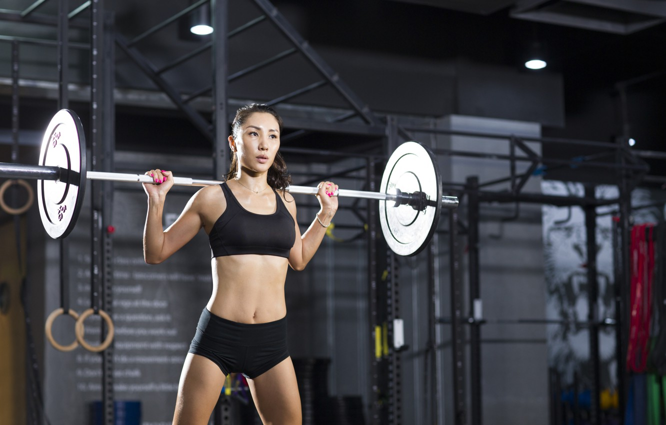 Photo wallpaper female, gym, crossfit, weightlifter