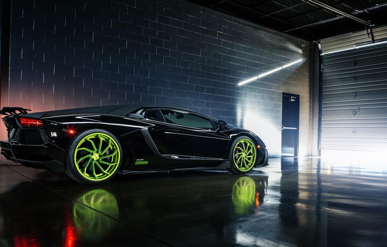 Photo wallpaper Lamborghini, Black, Color, LP700-4, Aventador, Wheels, Rear, B-Forged, 393