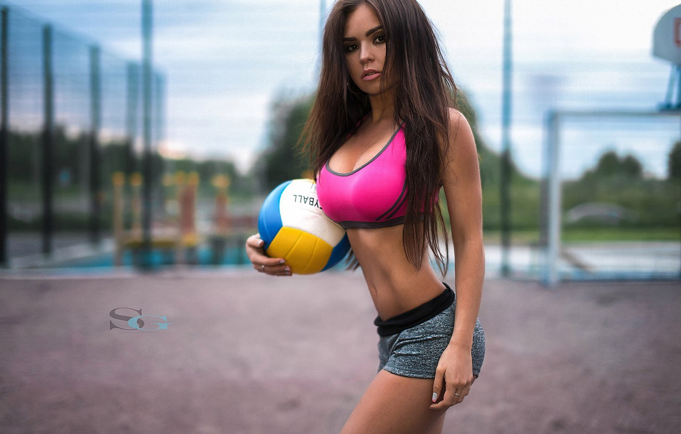 Photo wallpaper the ball, figure, slim, brunette, hairstyle, shorts, sports, topic, fitness, photographer, Playground, fitness model, Sergey …