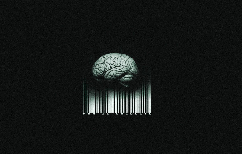 Photo wallpaper barcode, brain, black background, man is obsolete