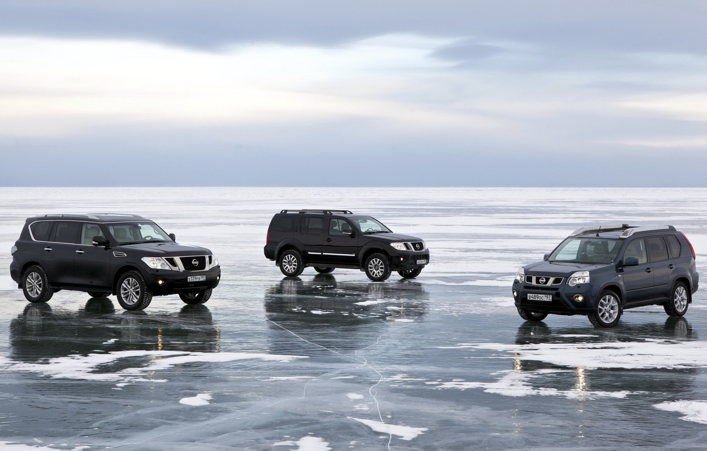 Photo wallpaper the sky, snow, lake, ice, Baikal, jeep, Nissan, SUV, Nissan, Pathfinder, crossover, Patrol, X-Trail, Patrol, …