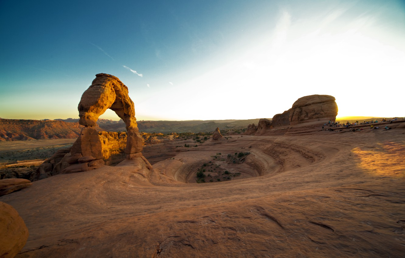 Photo wallpaper sunset, rock, canyon, USA, sunset, utah, arches national park, delicate arch