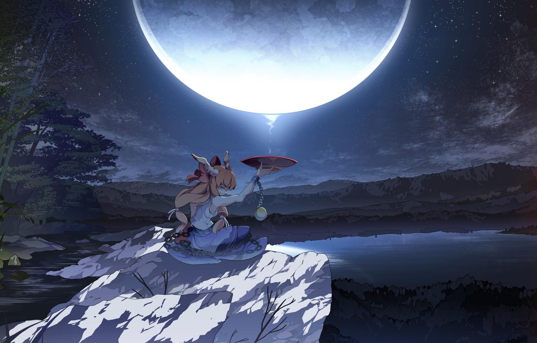 Photo wallpaper forest, girl, night, lake, the moon, stone, bowl, art, witch, chain, touhou, shackles, asakura masatoki, …