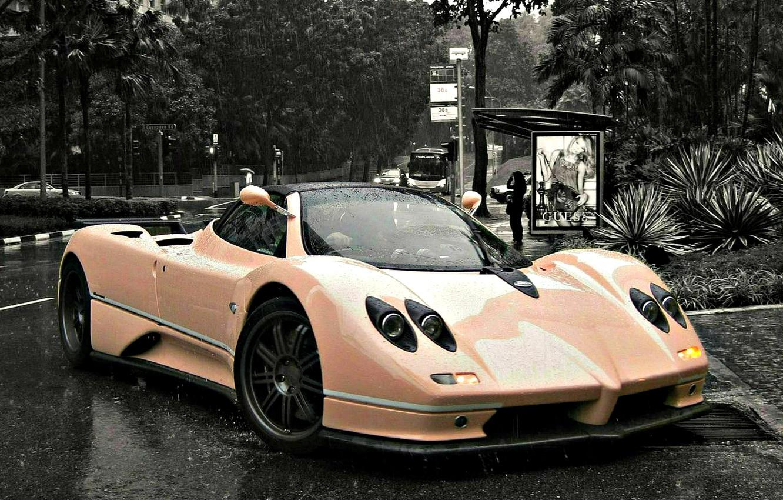 Photo wallpaper rain, supercar, Pagani, Italian, zonda, probe, Pagani, c12, Pagani probe, Pagani zonda, exclusive roadster