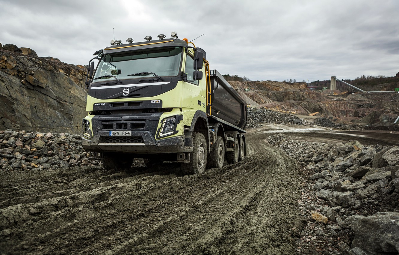 Photo wallpaper road, stones, dust, Volvo, truck, Volvo, 2013, quarry, FMX, 8x4, machinery, samawal
