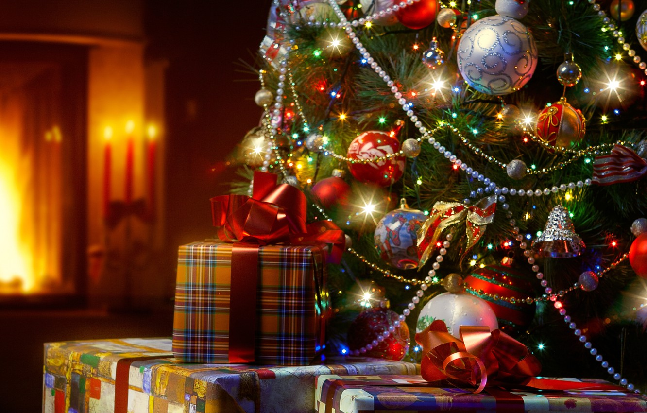 Photo wallpaper decoration, lights, tree, candles, lights, gifts, fireplace, New Year, Merry Christmas, candles, Christmas tree, fireplace, …