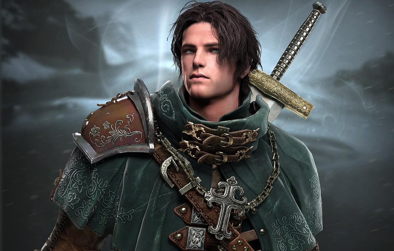 Photo wallpaper weapons, cross, sword, art, male, armor, hunter
