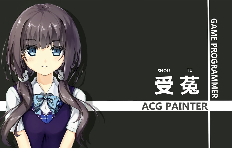 Photo wallpaper girl, anime, art, form, schoolgirl, yuri shoutu