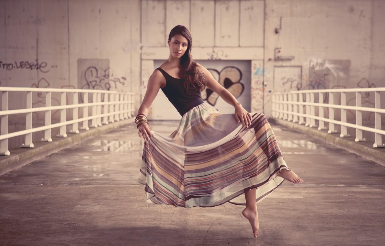Photo wallpaper look, girl, smile, railings, brown hair, bracelets
