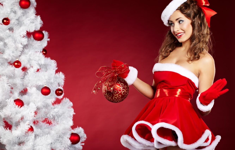Photo wallpaper girl, smile, ball, dress, tree, brown hair, bow, cap, Christmas decorations