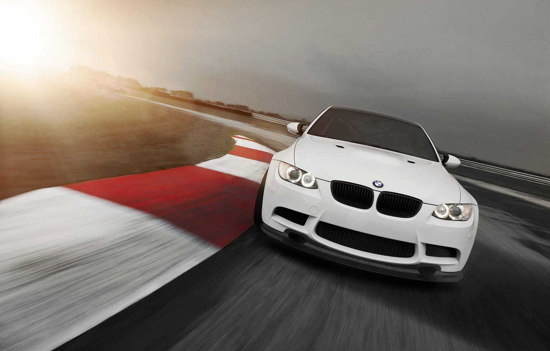 Photo wallpaper the sun, BMW, white, Blik, track, E92, 3 Series