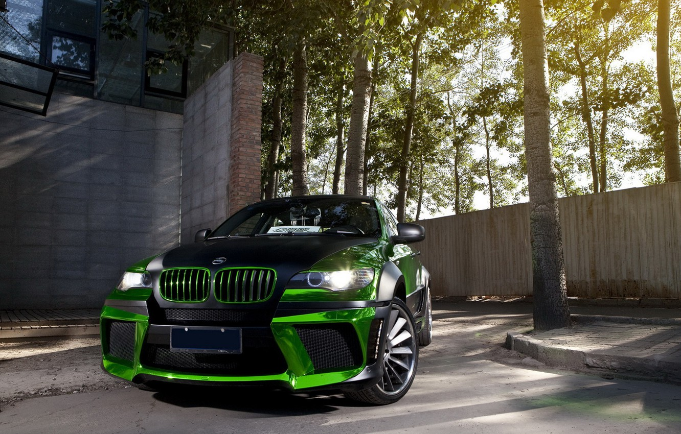 Photo wallpaper green, tuning, bmw, BMW, tuning, the front, chrome