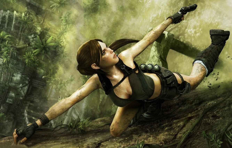 Photo wallpaper gun, jungle, Lara Croft