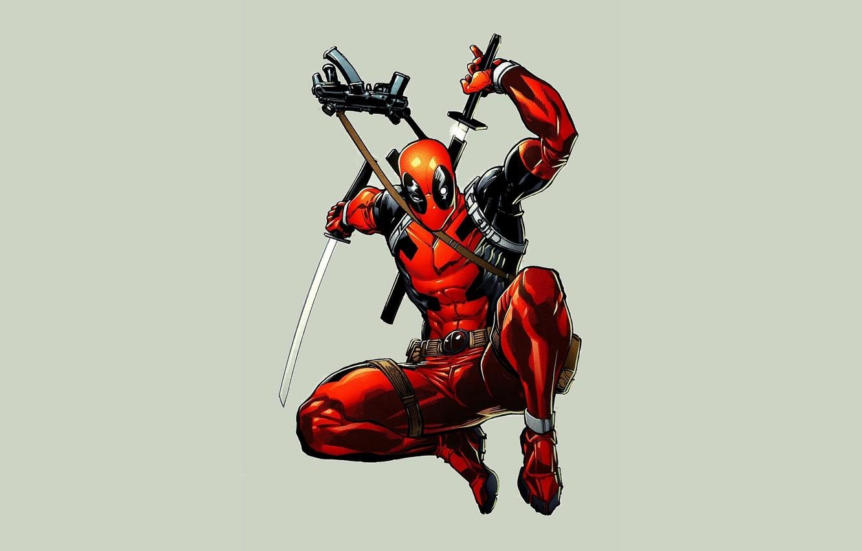 Photo wallpaper red, Deadpool, Deadpool, katana, comics, MARVEL, Wade Wilson