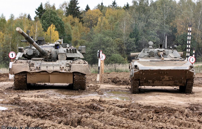 Photo wallpaper FOREST, TANKS, DIRT, GUN, BMP-2, T-80U, POLYGON
