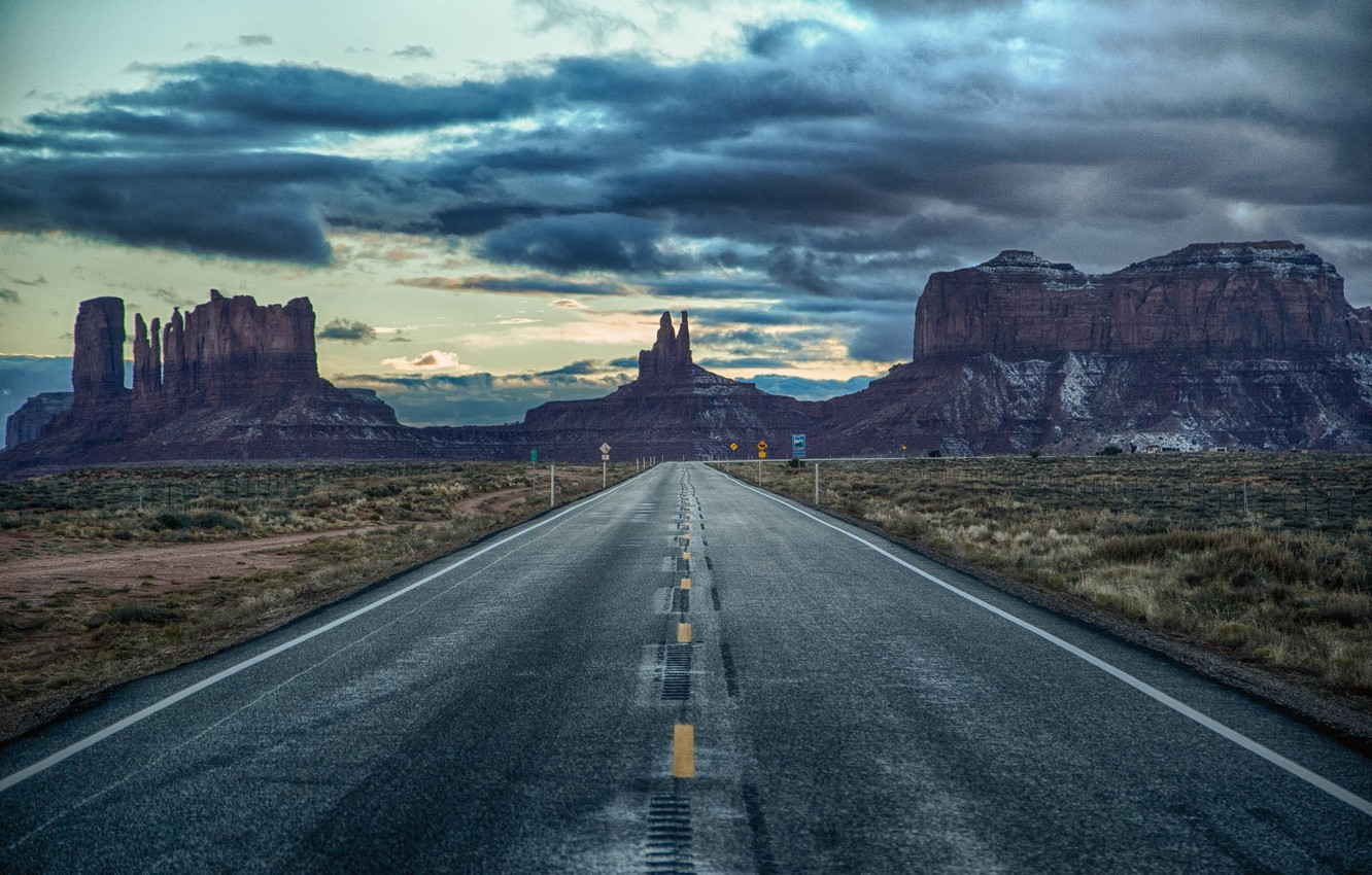 Photo wallpaper the sky, clouds, road, signs, AZ, Utah, twilight, Monument valley, United States, border