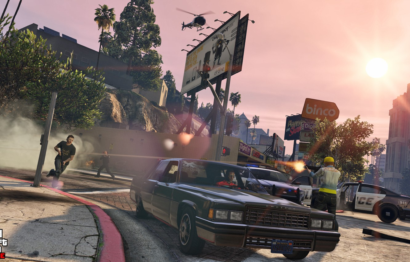 Photo wallpaper machine, police, helicopter, shootout, Grand Theft Auto V, gta 5, gta online
