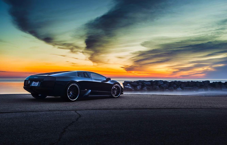Photo wallpaper Lamborghini, Black, Murcielago, Forged, V12, Sunrise, Rear, LP640-4