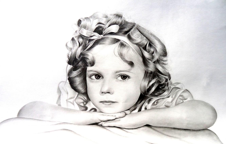 Photo wallpaper white, figure, child, black, girl