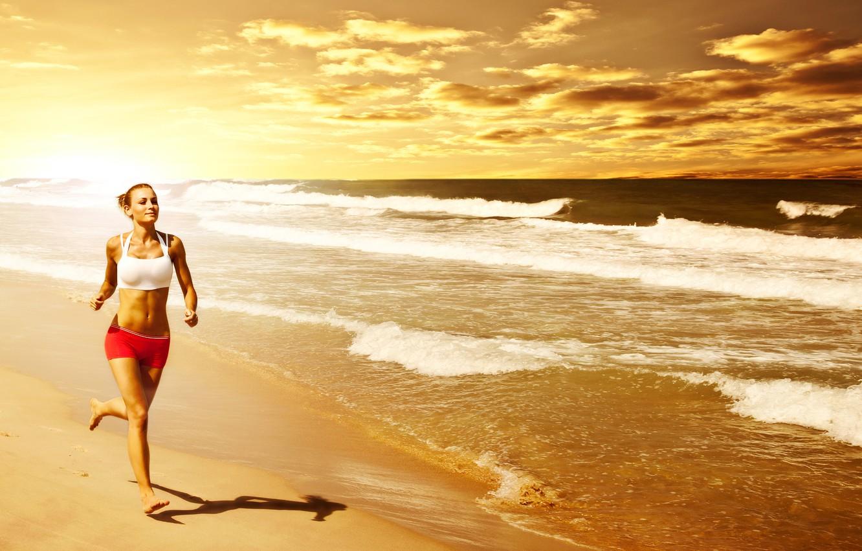 Photo wallpaper beach, woman, running