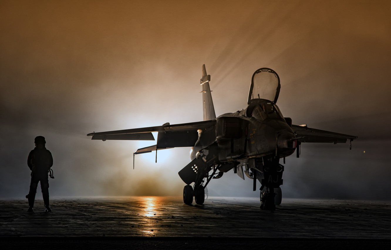 Wallpaper light, Jaguar, pilot, the airfield, fighter-bomber
