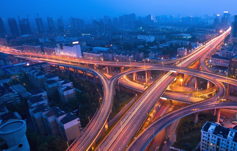 Photo wallpaper road, night, lights, lights, movement, traffic, overpass, megapolis, traffic, Night city, blue mist