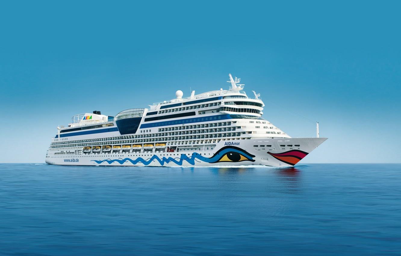 Photo wallpaper the sky, Sea, White, Board, Day, The ship, liner, Calm, cruise ship, AIDAmar