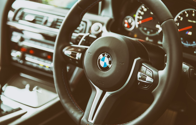 Photo wallpaper BMW, the wheel, salon, Interior