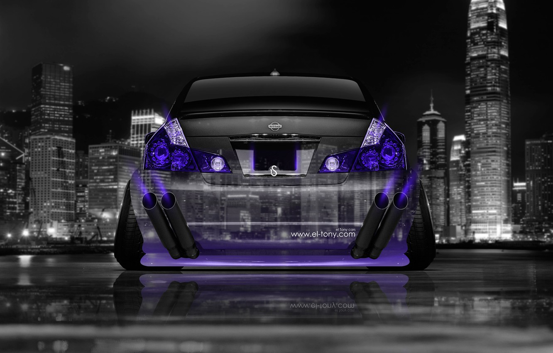 Photo wallpaper Neon, Machine, Nissan, Wallpaper, City, Nissan, Purple, Photoshop, Photoshop, Neon, Tuning, Back, Violet, JDM, 2014, …