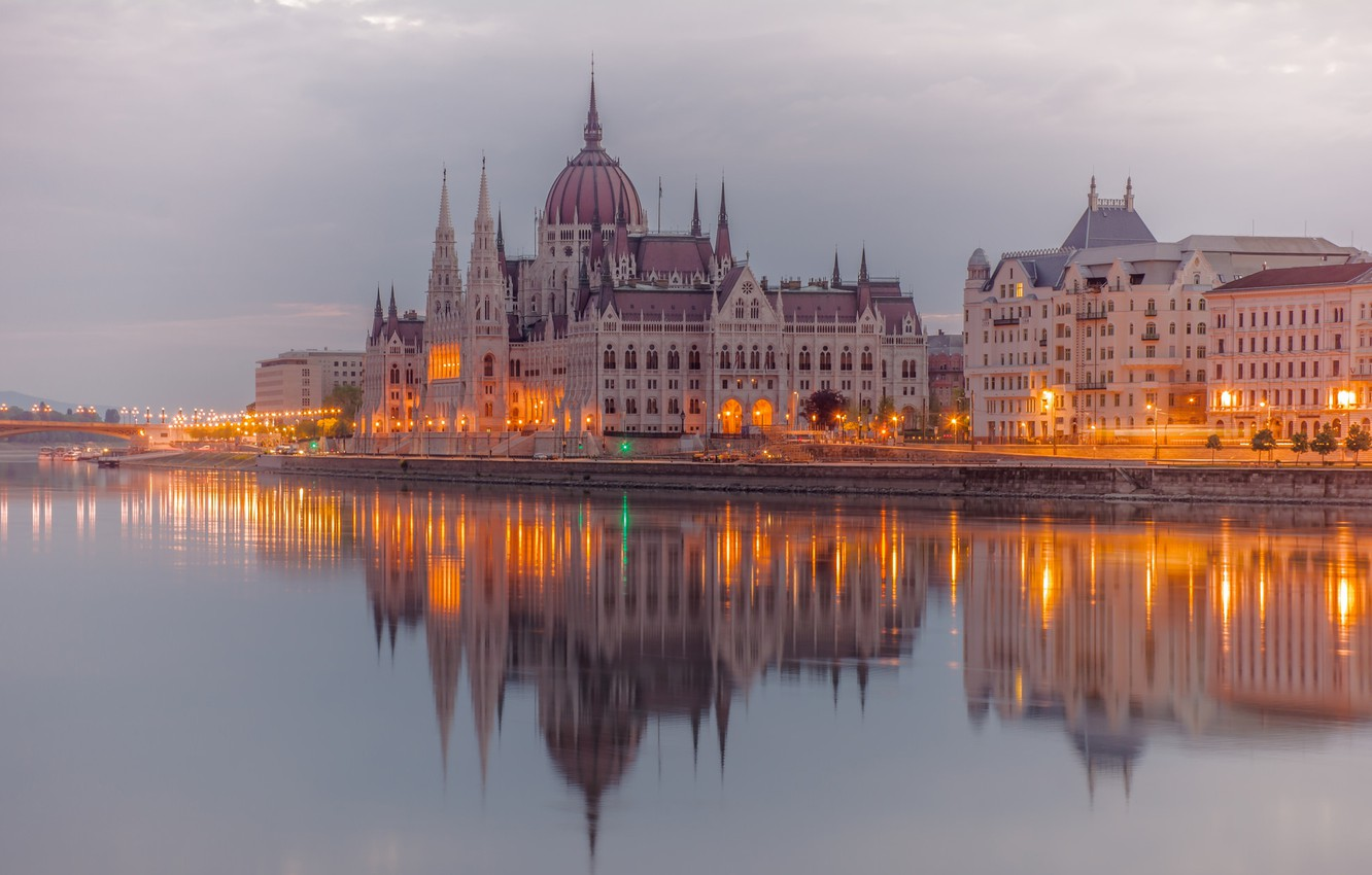 Photo wallpaper lights, river, Parliament, Hungary, Budapest, The Danube