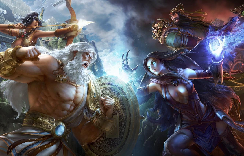 Photo wallpaper magic, the gods, fight, Smite