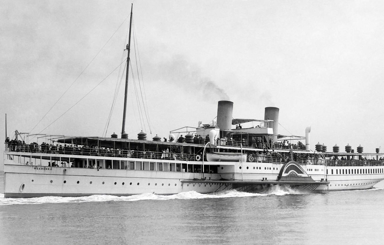 Photo wallpaper retro, steamer, old, old, steamship, passengers, Kolesnik