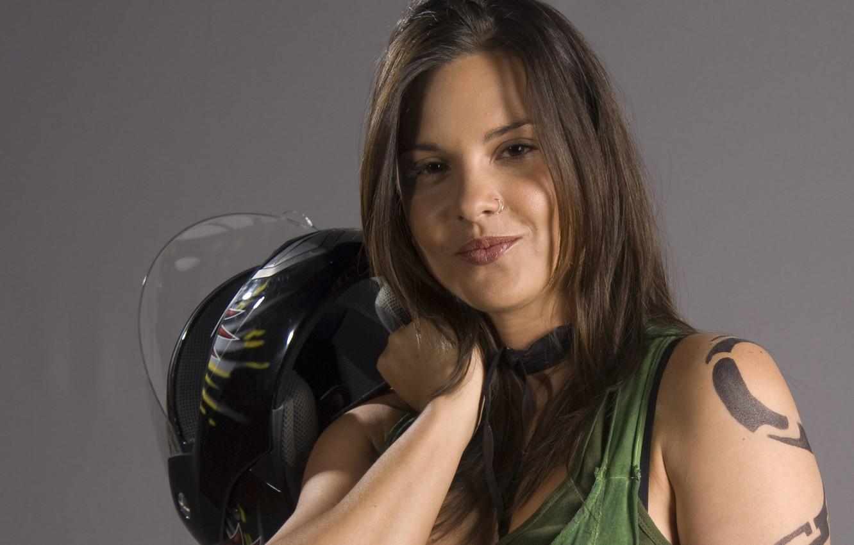 Photo wallpaper smile, Girl, actress, tattoo, helmet, Marianela, Marianela Gonzalez
