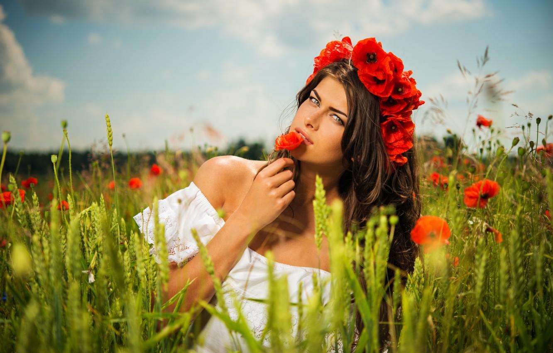 Photo wallpaper field, flowers, nature, Maki, Girls