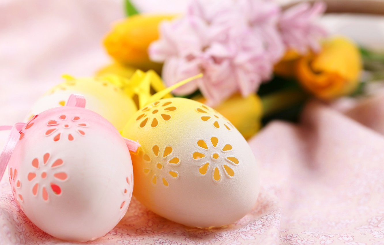 Photo wallpaper flowers, eggs, Easter, Easter, Holidays, Eggs