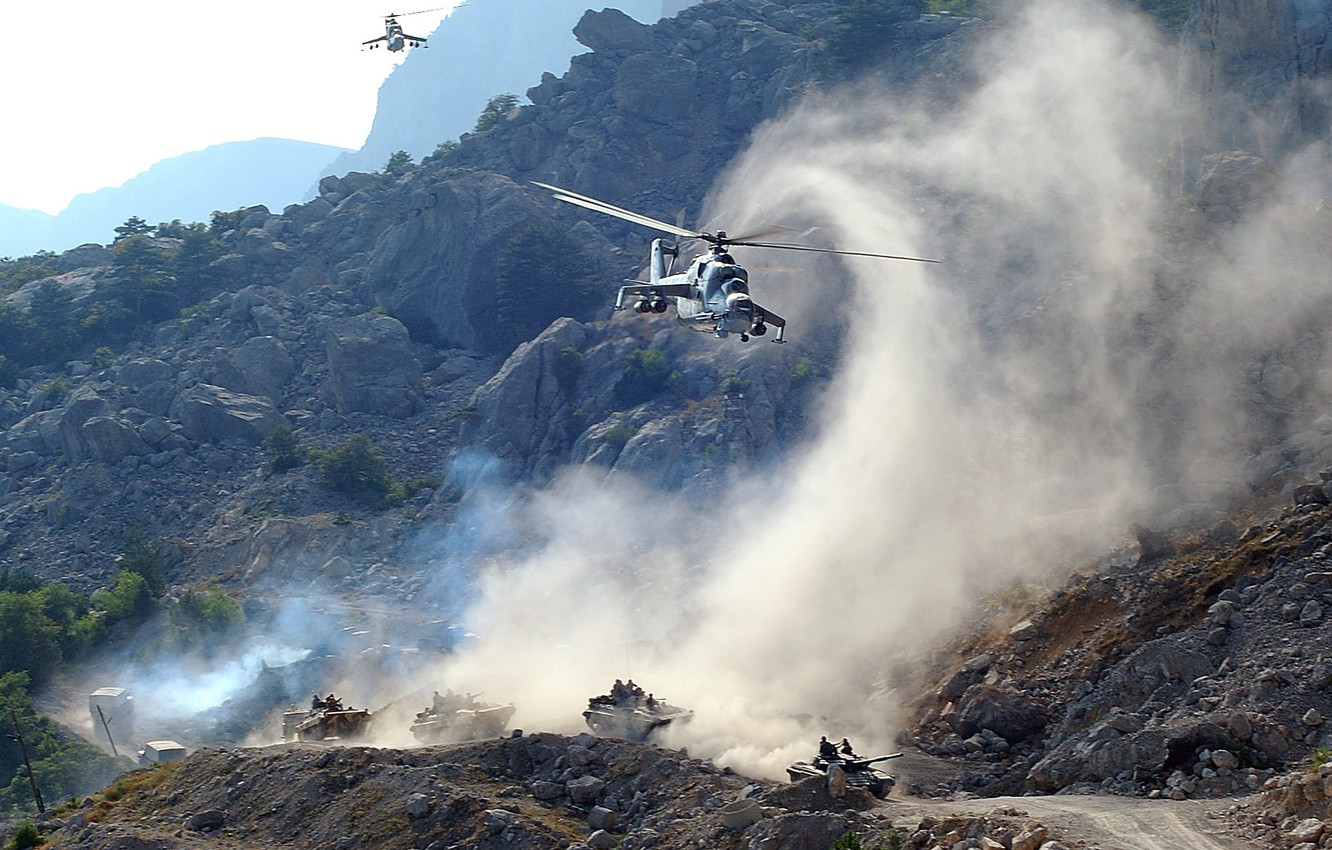 Photo wallpaper road, mountains, machine, smoke, helicopters, dust, tank, support, Mi-24, Bmpshki, Column, cover