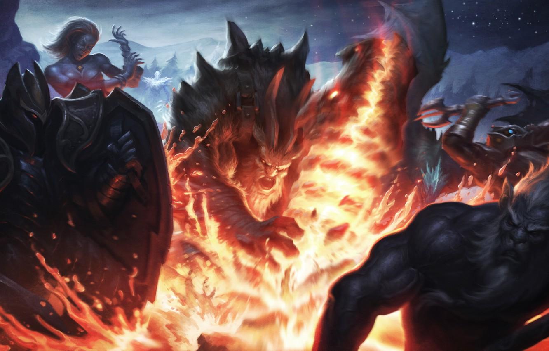 Photo wallpaper Slayer, dota 2, Lina, Azwraith, Dragon Knight, Phantom Lancer, Davion