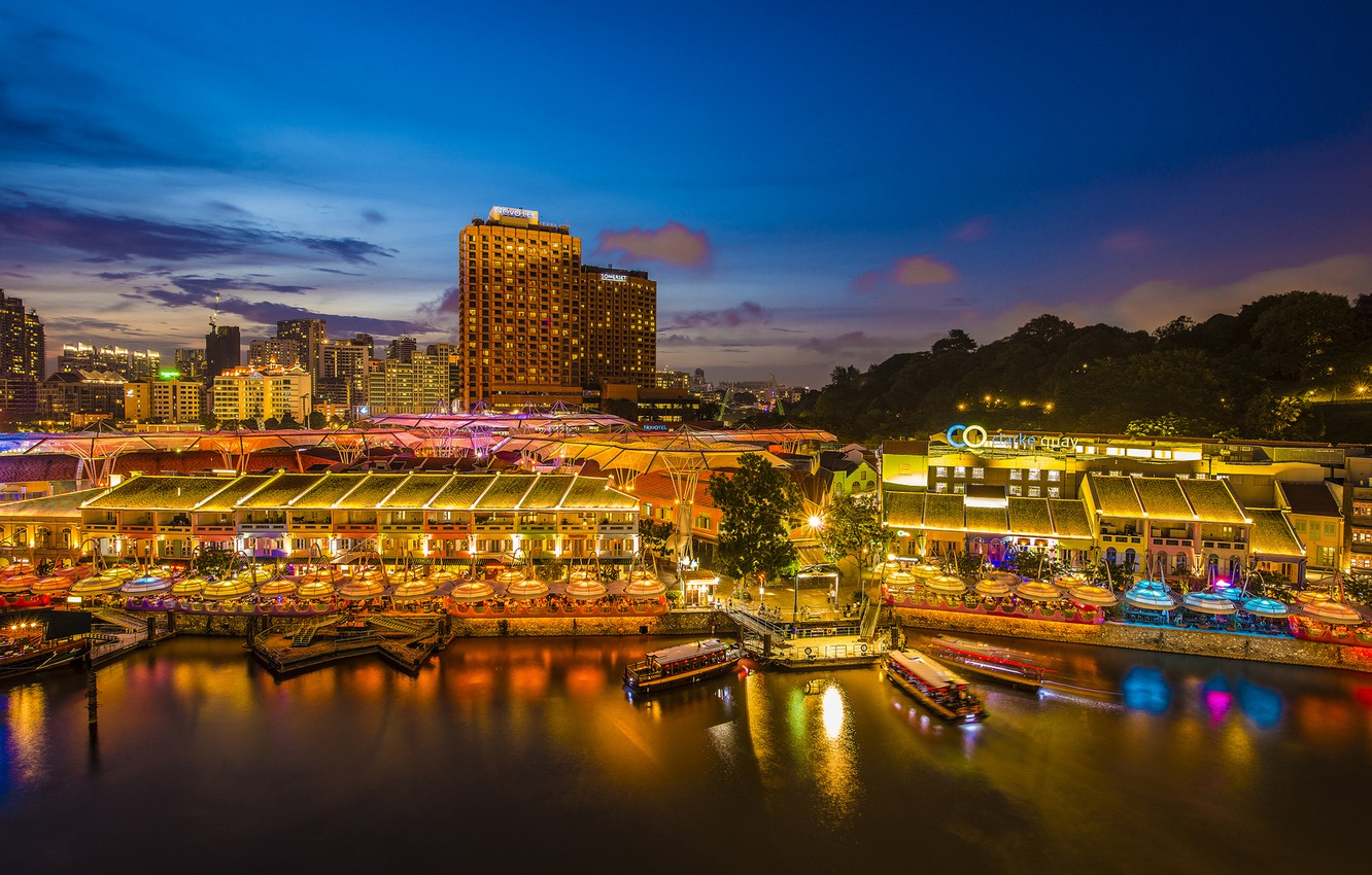 Photo wallpaper night, the city, lights, building, home, skyscrapers, pier, backlight, Bay, Asia, Singapore, Singapore