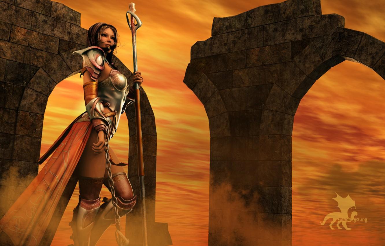 Photo wallpaper the sky, girl, rendering, armor, warrior, chain, staff