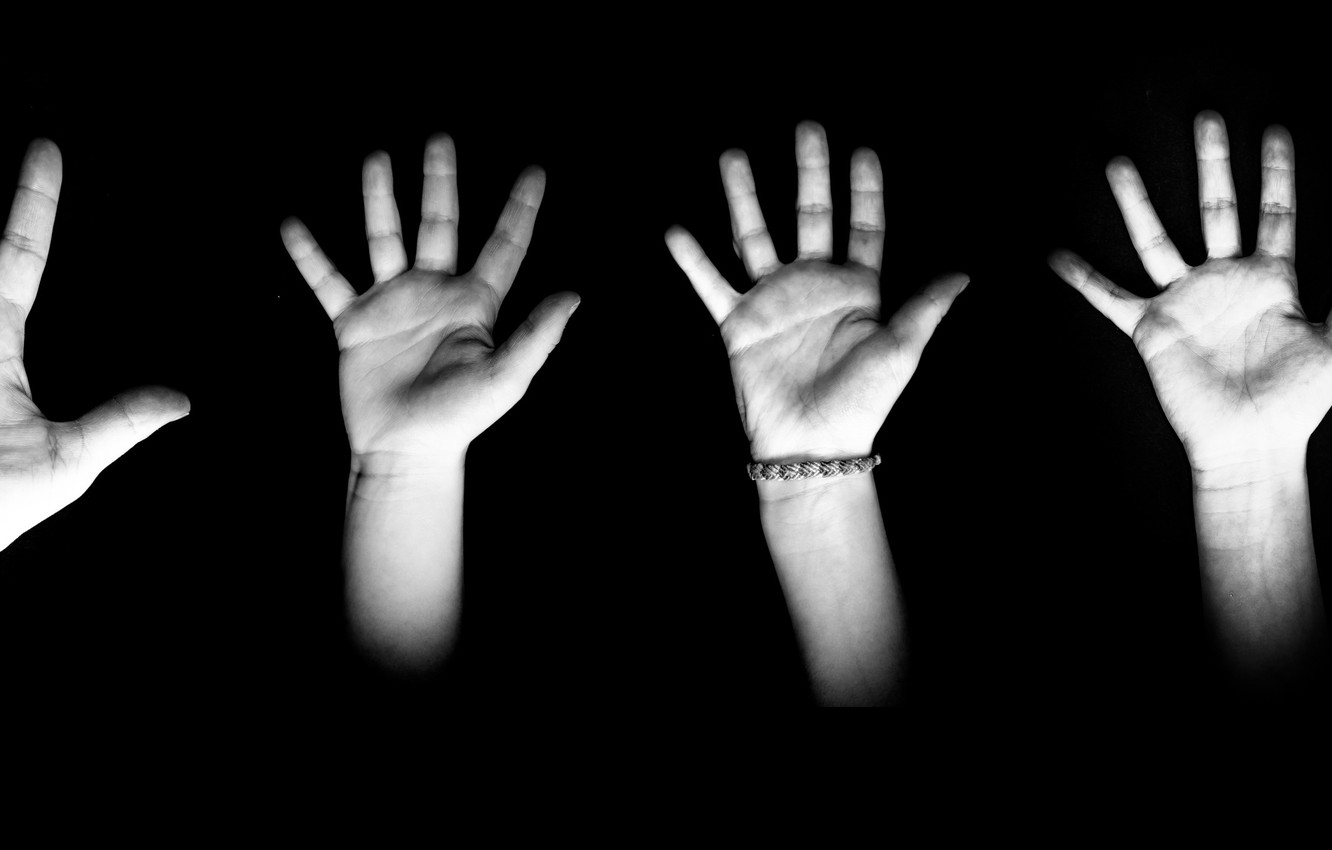 Photo wallpaper shadow, hands, family