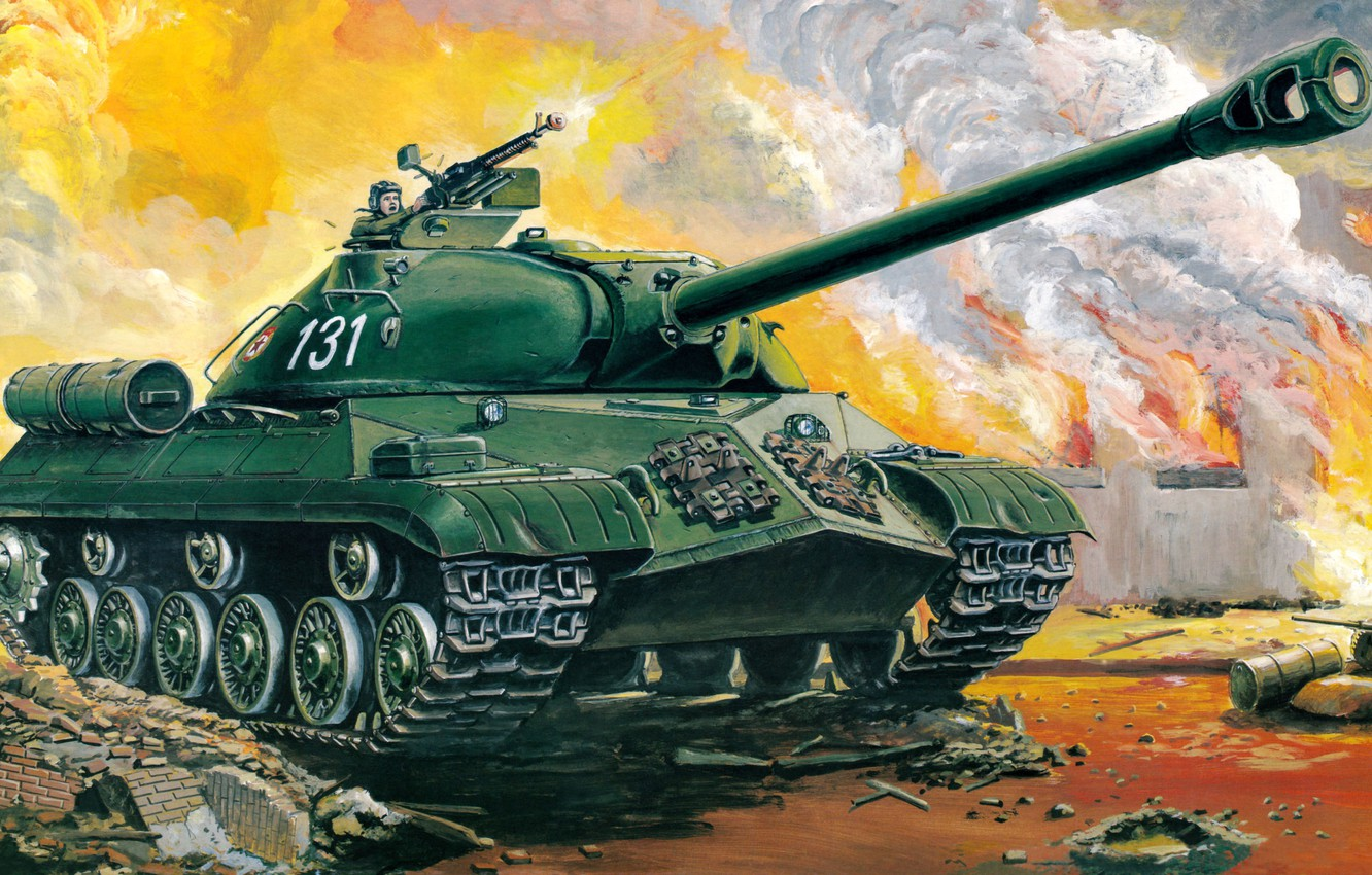Photo wallpaper art, tank, Egypt, USSR, the battle, night, guns, weapons, heavy, Soviet, caliber, China, Is-3, supplied, …