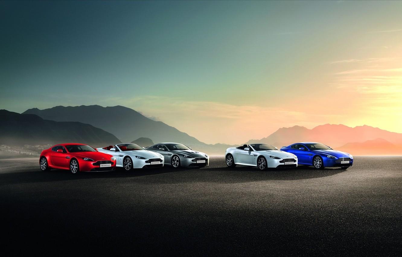 Photo wallpaper Aston Martin, BLUE, BACKGROUND, WHITE, MOUNTAINS, GREY, COLOR, RED, SUNSET, METALLIC