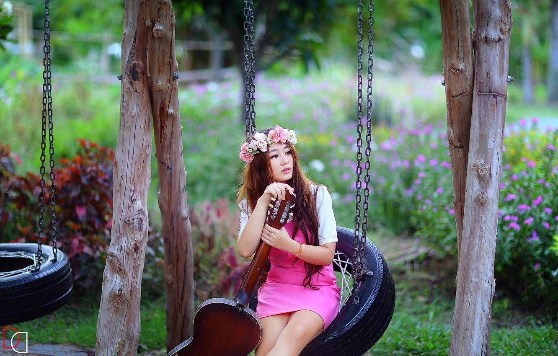 Photo wallpaper girl, music, swing, guitar, Asian
