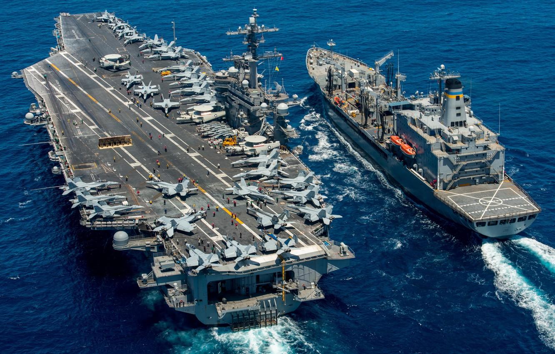 Photo wallpaper sea, weapons, army, aircraft carrier USS Carl Vinson (CVN 70), replenishment oiler USNS Yukon (T-AO …